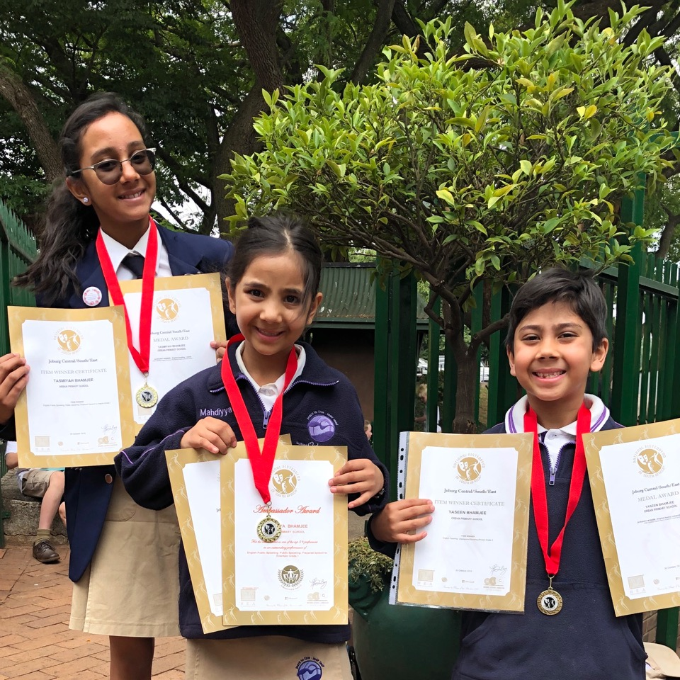 3 medal winners in one family! Tasmiyah, Mahdiyyah and Yaseen Bhamjee all received category winner medals last night.